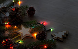 Christmas decoration and lights on table - 181629120
