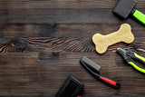 grooming tools concept on wooden table background top view mock- - 181630731