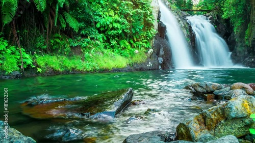 Timelapse Waterfall in deep rain forest jungle in Bali, Indonesia © valentinayupov