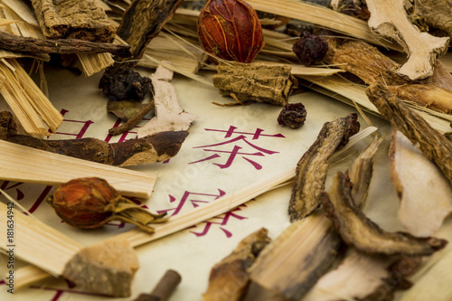 Poster Koffie tea for traditional chinese medicine