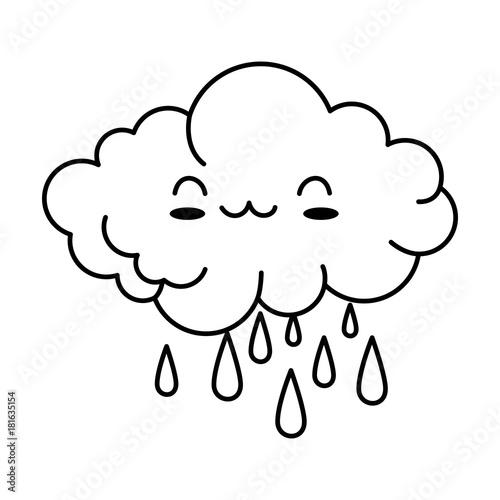 cute cloud rainy kawaii character vector illustration design - 181635154