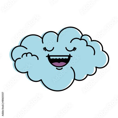 cute cloud kawaii character vector illustration design - 181635557