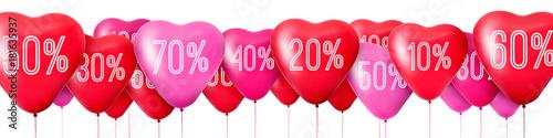 Renderowanie 3D Czerwone balony w kształcie serc, sprzedaż