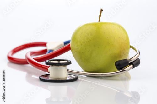 Staande foto Vruchten apple and stethoscope