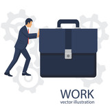 Businessman pushing big briefcas as symbol of hard work. Isolated on white background. Vector illustration flat design. Office manager in suit. Confident man. Hard way.  - 181636519