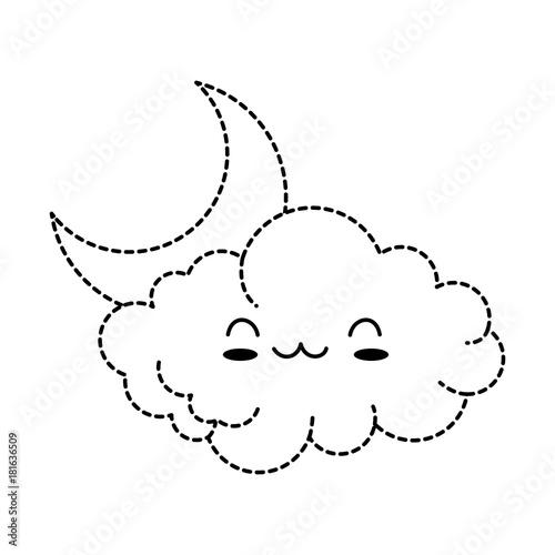 cute cloud with moon kawaii character vector illustration design - 181636509