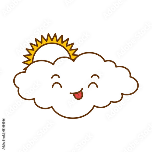 cute cloud with sun kawaii character vector illustration design - 181636566