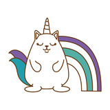 cute fantasy hamster with rainbow vector illustration design