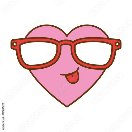 cute heart with sunglasses kawaii character vector illustration design - 181636722
