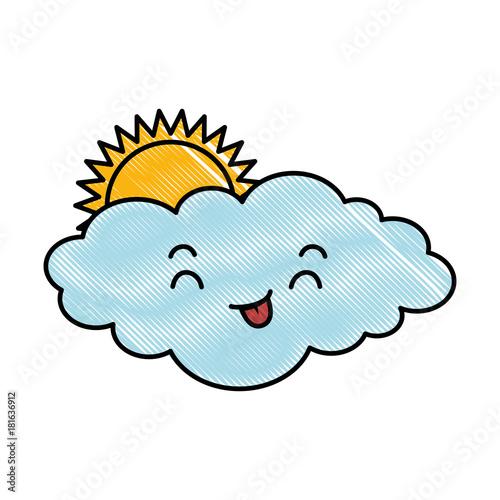 cute cloud with sun kawaii character vector illustration design - 181636912