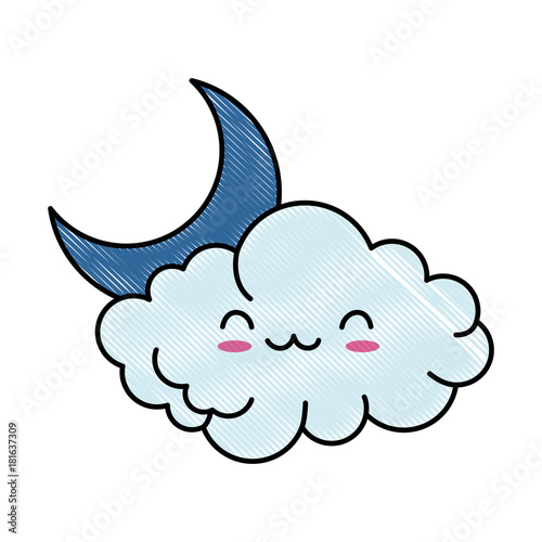 cute cloud with moon kawaii character vector illustration design - 181637309