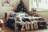 Christmas interior bedroom. Cozy and stylish modern room - 181640322