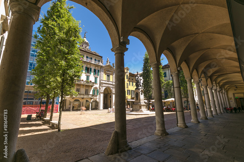 Typical porticoes in Garibaldi square, in the center of Varese, Italy.