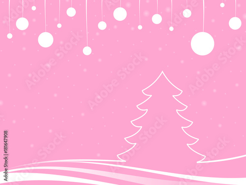 Plexiglas Lichtroze snowfall christmas in a pink landscape with abstract tree and white christmas balls in a pink background