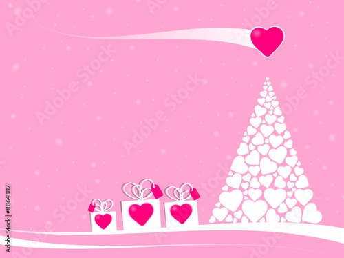 In de dag Lichtroze gift boxes with pink heart in a fairytale christmas scene with a christmas tree made with many white hearts and a big love comet