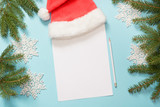 Christmas empty blank letter for Santa Claus with milk, cookies. Top view and space for your text. Flat lay. - 181649715