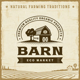 Vintage Barn Label. Editable EPS10 vector illustration in retro woodcut style with clipping mask and transparency. - 181651947
