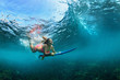 Active girl in bikini in action. Surfer woman with surf board dive underwater under breaking big wave. Teenage lifestyle. Water sport, extreme surfing in adventure camp on family summer beach vacation