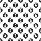 You are loved - nursery seamless pattern with bear king in scandinavian style. Monochrome vector illustration