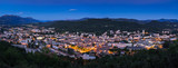 Elevated panoramic view of the City of Gap at twilight. Hautes-Alpes, Southern French Alps, France - 181658571