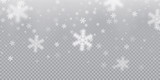 Falling snowflake pattern background of white cold snowfall overlay texture isolated on transparent background. Winter Xmas snow flake ice elements template for Christmas of New Year holiday design - 181660564