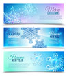 Realistic Snowflake Banner Set