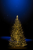 christmas tree; Holidays tree light on winter night background - 181661317