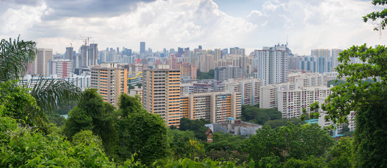 Panorama of residential areas of Singapore with greenery in foreground