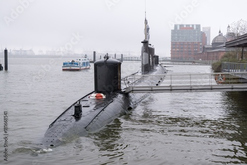 Foto op Plexiglas Schip Old Russian Submarine in the Port of Hamburg. Germany