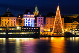 Stockholm city with illuminated christmas tree and festive decorations. - 181669329
