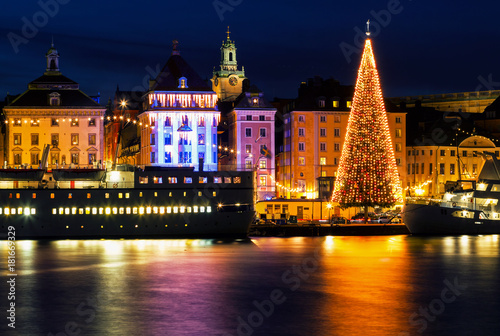 Staande foto Stockholm Stockholm city with illuminated christmas tree and festive decorations.
