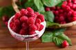 Ice cream with raspberries.