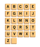 Alphabet on wooden front view isolated on background.Scrabble pieces. Vector stock.