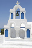 Greek church bell tower with blue sky in the background, Oia, Santorini, Greece - 181672124