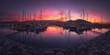 Panorama of Marina of Getxo at sunset