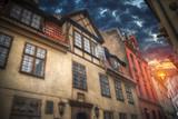 old houses on Riga street. Latvia - 181679127