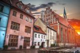 old houses on Riga street. Latvia - 181679177