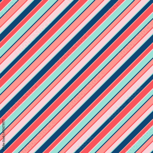 Materiał do szycia Colorful diagonal stripes seamless pattern for kids. Vector lines texture, trendy colors. Baby pattern. Girls pattern.