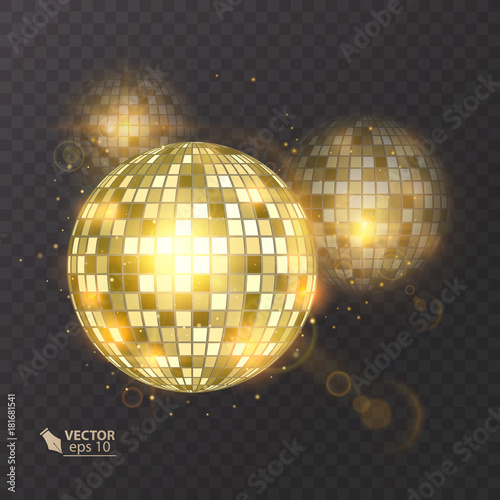 Fototapeta Disco ball on isolated background. Night Club party light element. Bright mirror ball design for disco dance club. Vector eps 10