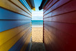 The sea look through from the side of bathing boxes on Dendy Street Beach, Brighton beach of Melbourne.