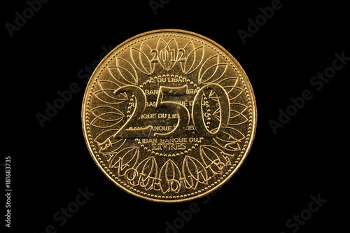 Poster A super macro image of a Lebanese 250 livres coin isolated on a black background