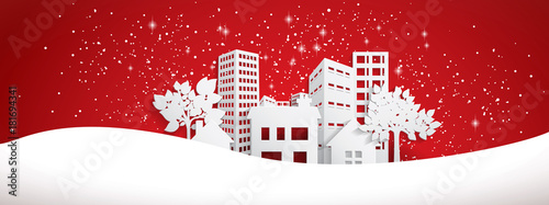 Wall mural Snowy Paper town banner
