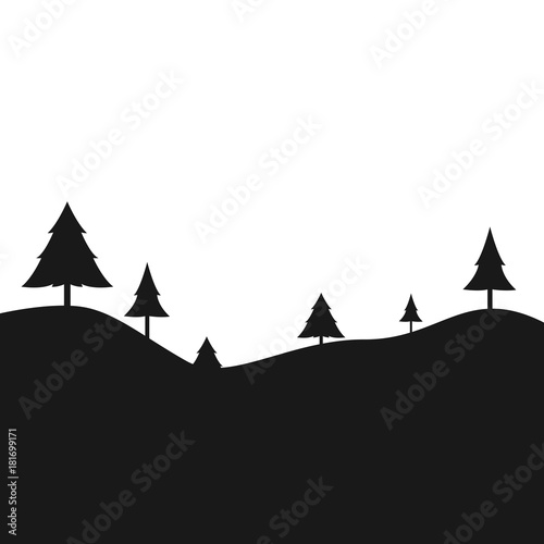 Fotobehang Zwart Black landscape with trees
