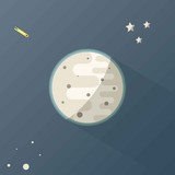Moon with Stars and comets in Space.Planet with Craters in the Universe, Vector Illustration.