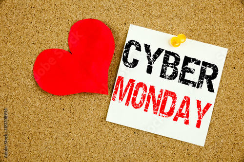 Conceptual hand writing text caption inspiration showing Cyber Monday concept for Retail Shop Discount and Love written on sticky note, reminder cork background with space