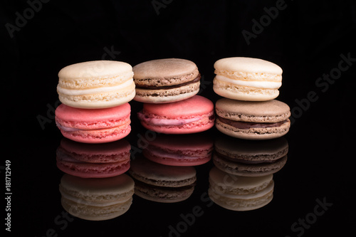 Foto op Aluminium Macarons Colorful macarons, top view, macro,close-up.