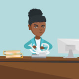 Annoyed african-american accountant sitting in office and tearing furiously bills or invoices. Young angry accountant calculating bills. Vector cartoon illustration. Square layout. - 181714931