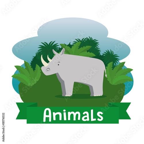 Sticker wild animal cartoon vector illustration graphic design