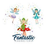 sweet and cute fairies cartoon vector illustration graphic design