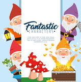 group of fantastic character cute dwarfs vector illustration graphic design